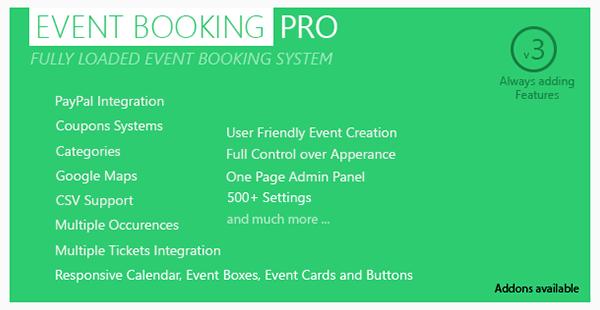 Event Booking Pro - WP Plugin Paypal or Offline